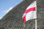 Thatched roof and the English Flag
