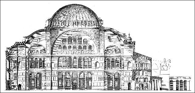 Hagia-Sophia-Laengsschnitt
